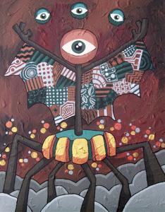 """""""The Juggler"""" acrylic on wood 2008"""