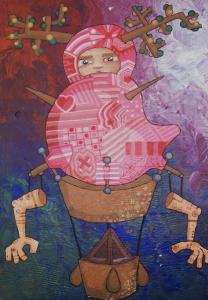 """""""Pink Balloon"""" acrylic on wood 2008"""