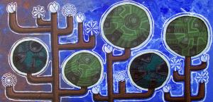 """""""Wide Tree"""" acrylic on wood 2008"""